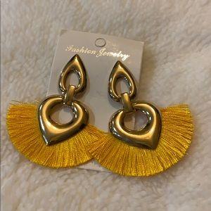 Yellow fan costume earrings